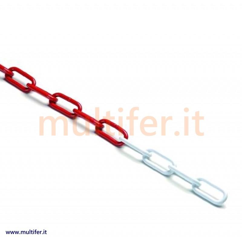 Catena bianco rossa in plastica o acciaio + paletto e accessori per delimitazione e segnaletica ...