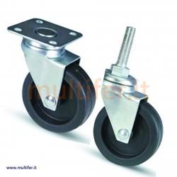 Ruote a forcella in acciaio per mobili e attrezzature varie. (ruota per attrezzature varie)