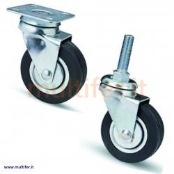Ruote a forcella in acciaio per mobili e attrezzature varie. (ruota in gomma per attrezzature varie)
