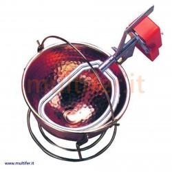 Paiolo in rame con mescolatore elettrico - Pentola per polenta o simili 26 - 34 cm.