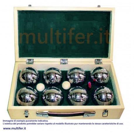 Set 8 bocce petanca 720 gr. + pallino + misuratore - in cassetta legno