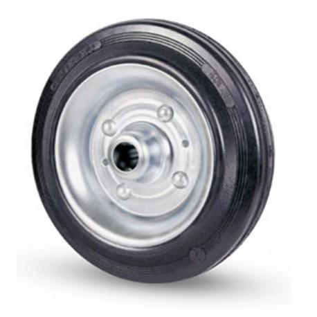 Ruote industriali in gomma nera con supporto fisso, girevole e con freno. In diametri e misure varie. (ruota gommata nera)