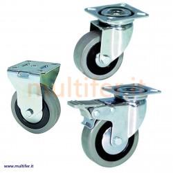 Ruota gommata grigia diam. 50 - 65 - 75 modelli vari - ruote gomma grigia