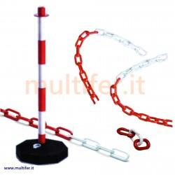 Catena bianco rossa in plastica o acciaio + paletto e accessori per delimitazione e segnaletica